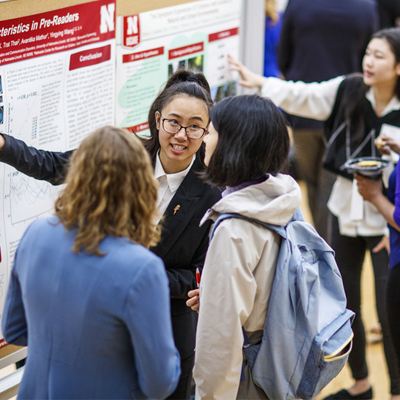 Students presenting at the Research Fair